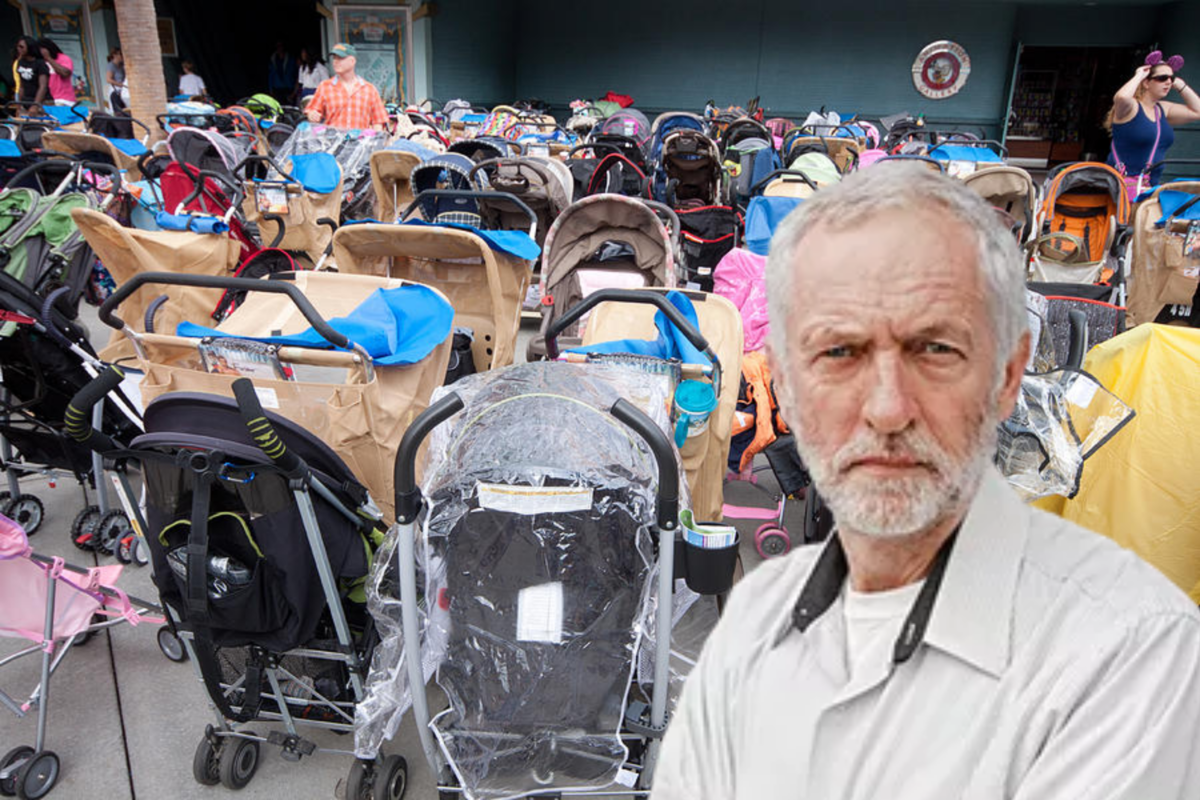 Corbyn walked past 80 empty prams in his latest PR stunt