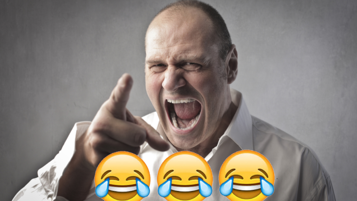 Dick head thinks he's won an argument with 3 laughing emojis