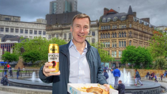 Hunt woos Manchester with Special Brew, pie and spice