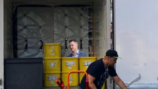 Tommy Robinson found cowering in the back of a lorry