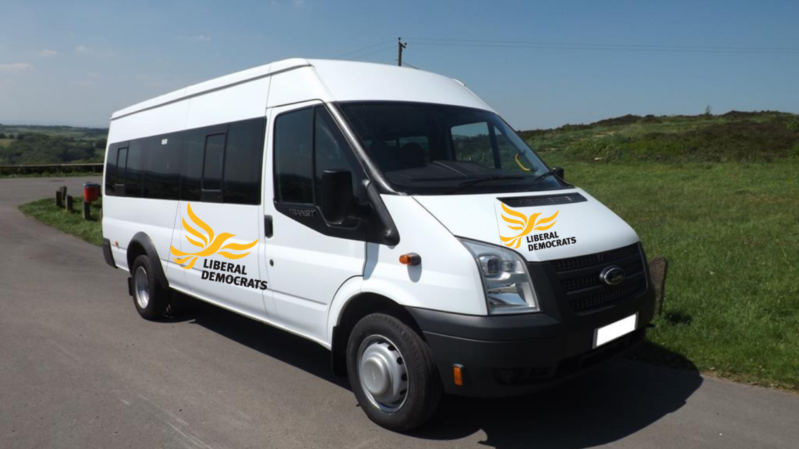 Liberal Democrat minibus sets off for Parliament with its 11 MPs